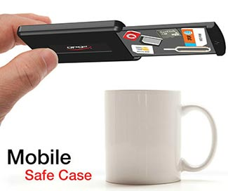 Tiny bits of essential electronic stuff are securely stored in the Mobile Safe Case.