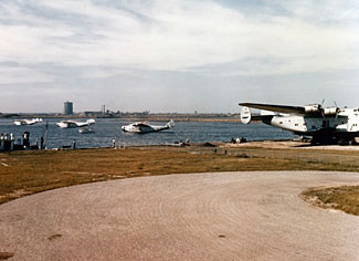 It was airplanes like these Boeing 314s, and airlines like Pan Am (who operated these planes) who made LGA the busiest airport in the world in 1940.  Pictured is the former Marine Air Terminal at La Guardia, in 1940.