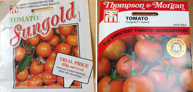 Tomato 'Sungold' 1996 packet & Tomato 'Sungold' 2016 packet