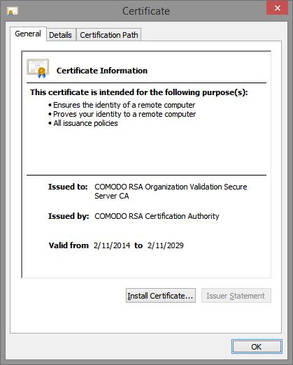 Certificate panel