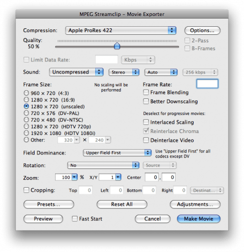 Mpeg Streamclip settings for canon 7d ingest