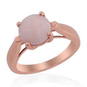 Solitaire Peruvian Pink Opal Rose Gold Overlay Sterling Silver Ring