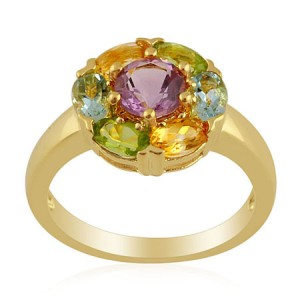 This awesome multi coloured gemstone ring is a steal at just £ 9.99.