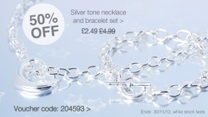 Necklace and bracelet silver tone with heart charm