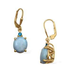 LARIMAR (OVL), MALGACHE NEON APATITE LEVER BACK EARRINGS