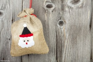 Hessian bags are an interesting way to wrap jewellery for Christmas