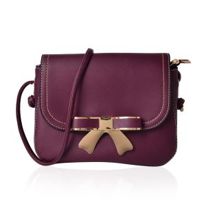Burgundy Bow Crossbody Bag