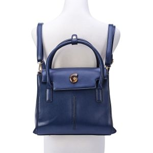 Navy Backpack with Ammonite Button