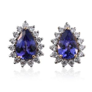 Iliana AAA Tanzanite and Diamond Pear Shape Earrings