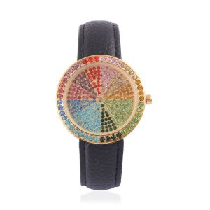 GENOA Japanese Movement Multi Colour Austrian Crystal Studded Golden Dial Water Resistant Watch in Gold Tone with Stainless Steel Back and Black Leather Strap