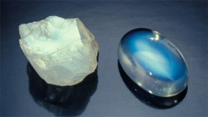Moonstone - rough and cabbed. Cabochon is approximately 5 ct.