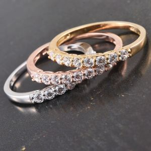 Set of 3 J Francis - Platinum, 14K Gold and Rose Gold Overlay Sterling Silver Ring Made with SWAROVSKI ZIRCONIA