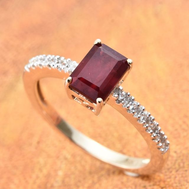 African ruby and Cambodian zircon ring