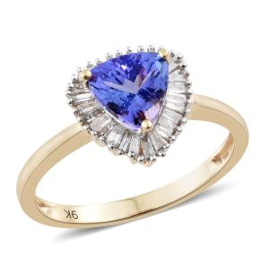 AA Tanzanite and Diamond Halo Ring in 9K Gold