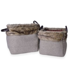 Set of 2 - 70% Cotton Dark Grey Colour Multi Purpose Faux Fur Basket