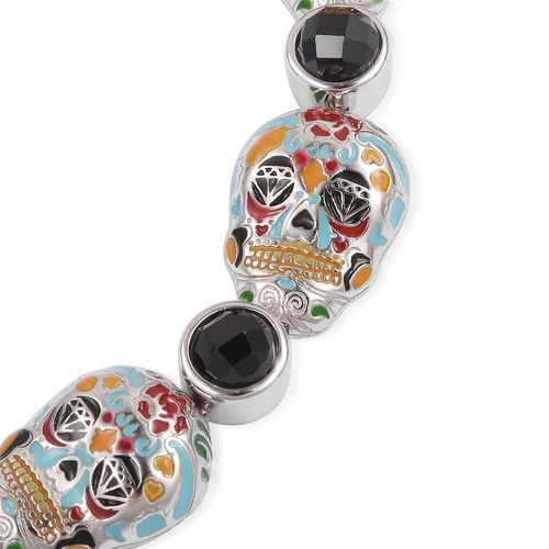 Boi Ploi Black Spinel (Rnd) Multi Colour Enameled Skull Bracelet