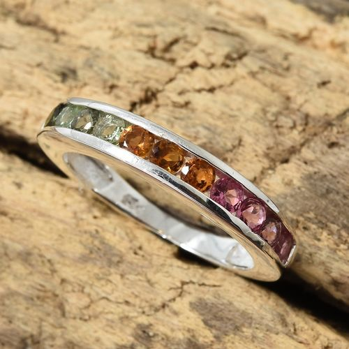 Rainbow Tourmaline Half Eternity Ring