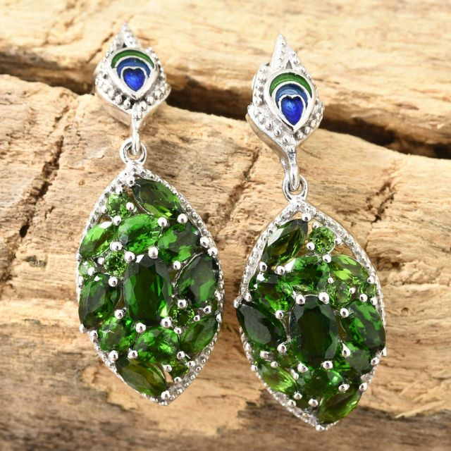 Russian Diopside Earrings on TJC