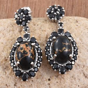 Arizona Mojave Black Turquoise, Boi Ploi Black Spinel Earrings