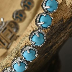 Arizona Sleeping Beauty Turquoise, Natural Cambodian Zircon Bracelet