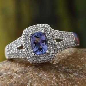 Tanzanite (Cush), Natural Cambodian Zircon Ring in Platinum Overlay Sterling Silver