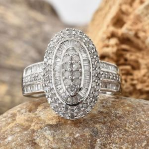 Diamond (Rnd) Cluster Ring in Platinum Overlay Sterling Silver