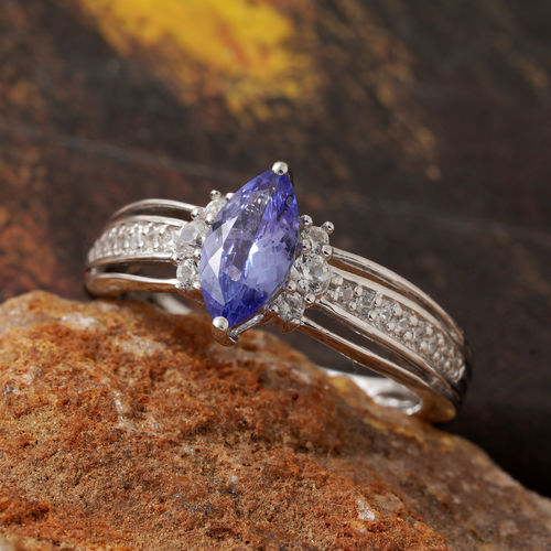 Tanzanite (Mrq), Natural Cambodian Zircon Ring