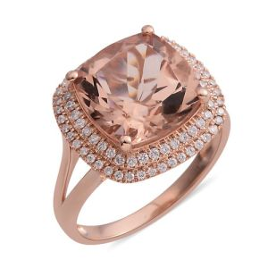 ILIANA 18K Rose Gold AAA Maroppino Morganite (Cush 12mm, 6.50 Ct) and Diamond (SI/G-H) Ring