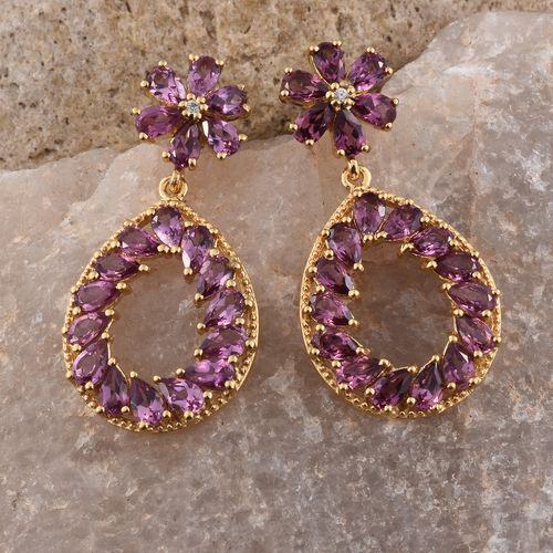 Rhodolite Garnet (Pear), Natural Cambodian Zircon Teardrop Earrings (with Push Back) in 14K Gold Overlay Sterling Silver
