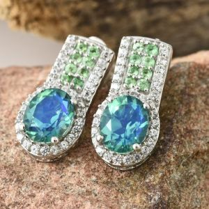 Peacock Quartz (Ovl), Natural Cambodian Zircon and Tsavorite Garnet Earrings (with Push Back) in Platinum Overlay Sterling Silver 7.500 Ct.