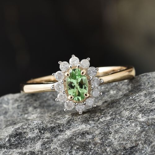 Extremely Rare 0.75 Ct AA Tsavorite Garnet and Diamond Halo Ring in 9K Gold