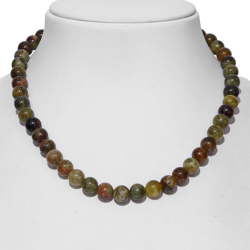 Extremely Rare AAA Mali Garnet (Rnd 10mm) Beads Necklace (Size 18) in Rhodium Overlay Sterling Silver with Magnetic Lock