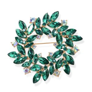 imulated Emerald (Mrq), Green and Magic Colour Austrian Crystal Flower Wreath Brooch