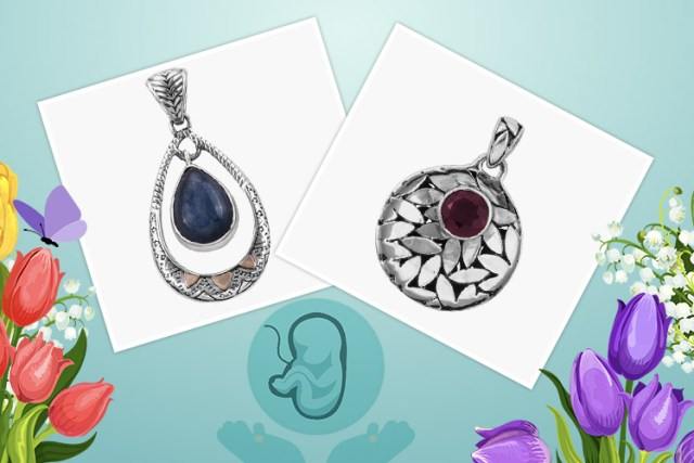 Products in image (Left to Right): Royal Bali Collection Himalayan Kyanite (Pear 14x10 mm) Pendant in 18K Gold and Sterling Silver 6.310 Ct. and Royal Bali 1.86 Ct African Ruby Drop Pendant in Sterling Silver 4.2 Grams
