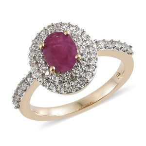 Burmese Ruby and Cambodian Zircon Halo Ring in 9K Yellow Gold