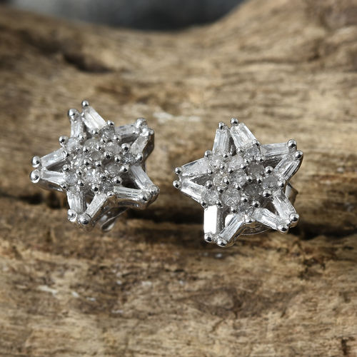 Diamond Cluster Stud Earrings in Platinum Plated Sterling Silver