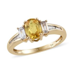 9K Yellow Gold AAA Chanthaburi Yellow Sapphire, Natural Cambodian Zircon Ring