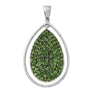 Russian Diopside Drop Pendant in Platinum Plated Sterling Silver
