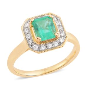 LIANA 18K Yellow Gold Boyaca Colombian Emerald and Diamond Halo Ring