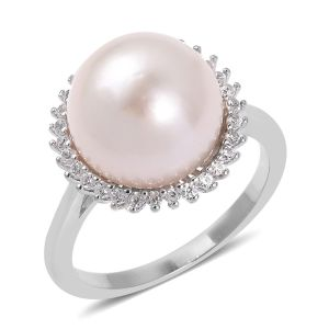 Edison Pearl, Natural Cambodian White Zircon Ring in Rhodium Overlay Sterling Silver