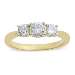 ILIANA 1 Carat Diamond 3 Stone Ring in 18K Gold 3.75 Grams