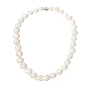 20 Inch Long AAA White Edison Pearl Beaded Necklace in 9K White Gold