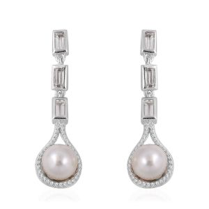 Japanese Akoya Pearl, White Topaz Drop Earrings (with Push Back) in Rhodium Overlay Sterling Silver
