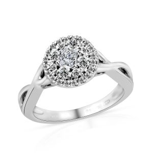 Diamond Cluster Ring in Platinum Plated Sterling Silver 3.30 Grams