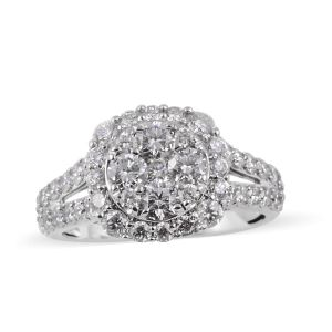 2 Carat Diamond Cluster Ring in 14K White Gold 5.3 Grams