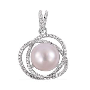 Freshwater White Pearl, Simulated Diamond Pendant in Rhodium Overlay Sterling Silver