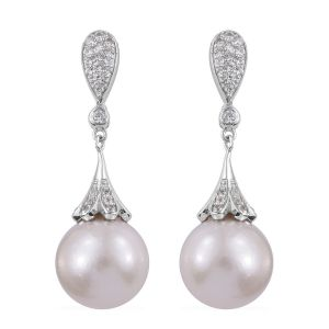 Edison Pearl and Cambodian Zircon Drop Earrings in Platinum Plated Sterling Silver