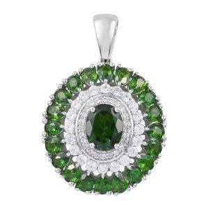 Russian Diopside ,Cambodian Zircon Platinum Overlay Sterling Silver Pendant