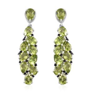 Chinese Peridot and Kanchanaburi Blue Sapphire with Multi Gemstones Cluster Drop Earrings