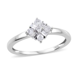 0.20 Ct Diamond Floral Ring in 9K White Gold SGL Certified I3 GH